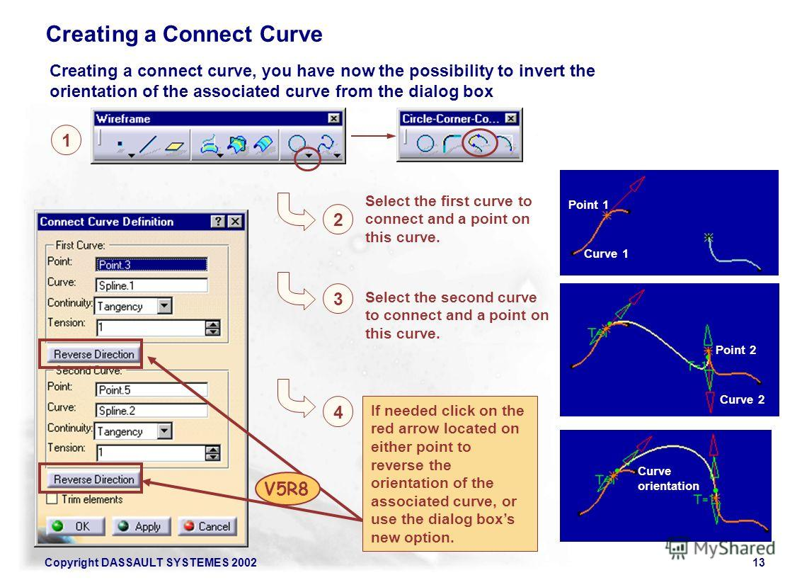 Copyright DASSAULT SYSTEMES 200213 1 2 Select the first curve to connect and a point on this curve. Creating a Connect Curve 4 If needed click on the red arrow located on either point to reverse the orientation of the associated curve, or use the dia