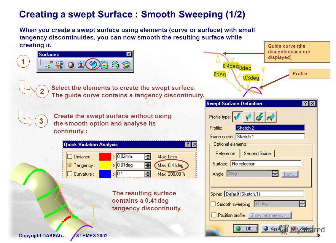 Copyright DASSAULT SYSTEMES 200218 1 Creating a swept Surface : Smooth Sweeping (1/2) 2 Select the elements to create the swept surface. The guide curve contains a tangency discontinuity. Create the swept surface without using the smooth option and a
