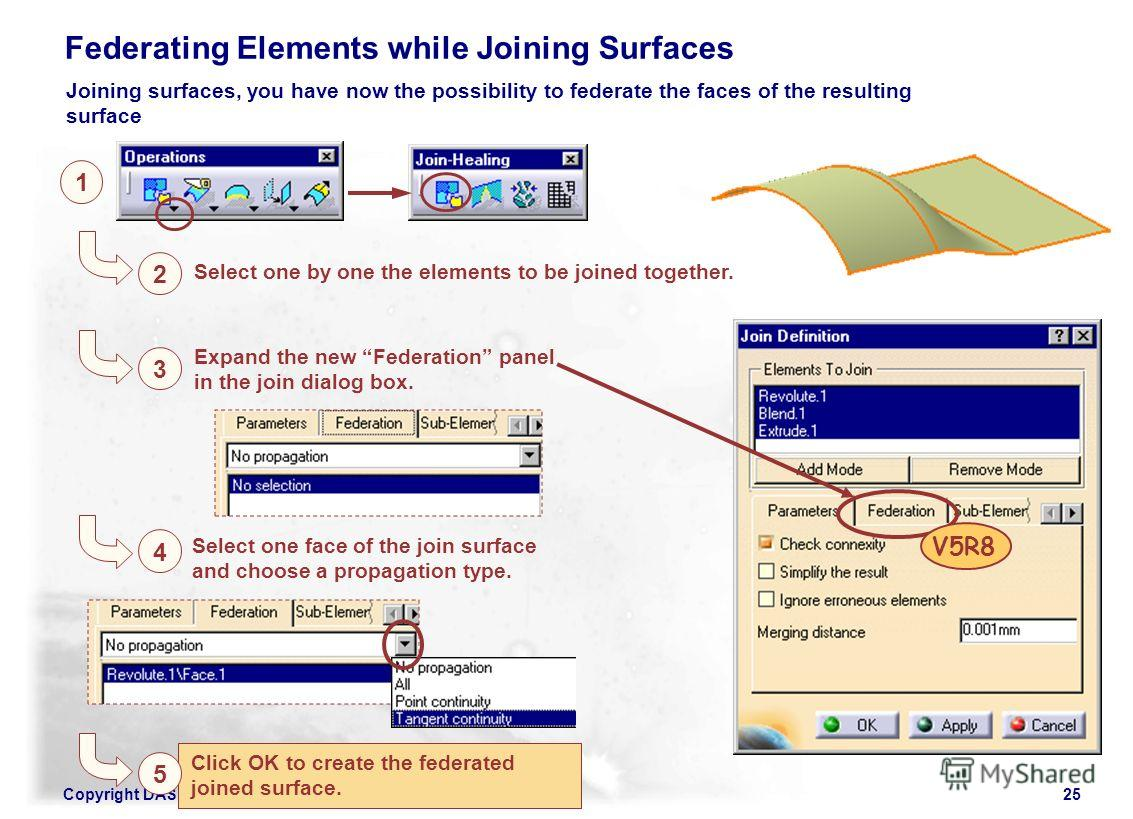 Copyright DASSAULT SYSTEMES 200225 Click OK to create the federated joined surface. 1 2 Select one by one the elements to be joined together. Federating Elements while Joining Surfaces 3 Expand the new Federation panel in the join dialog box. 4 Selec