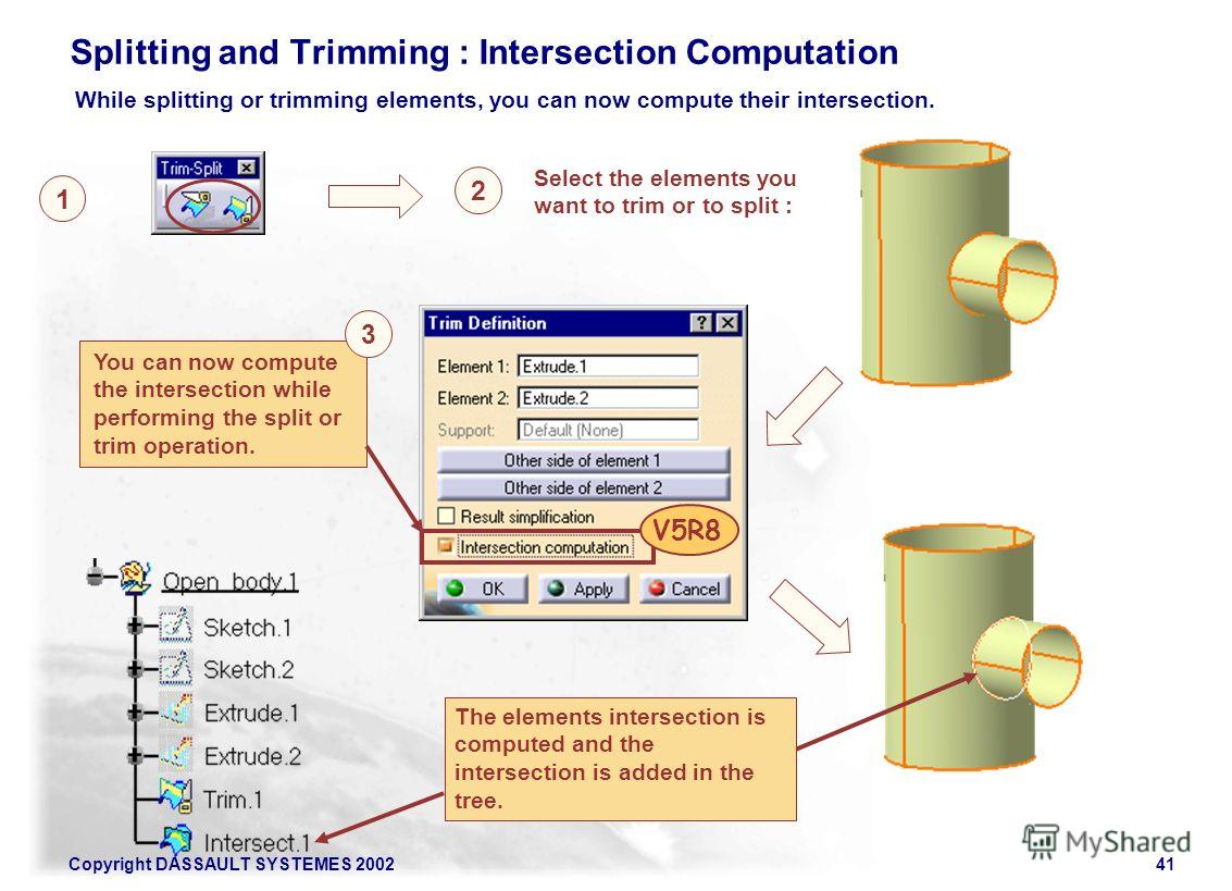 Copyright DASSAULT SYSTEMES 200241 Splitting and Trimming : Intersection Computation While splitting or trimming elements, you can now compute their intersection. Select the elements you want to trim or to split : 1 2 You can now compute the intersec