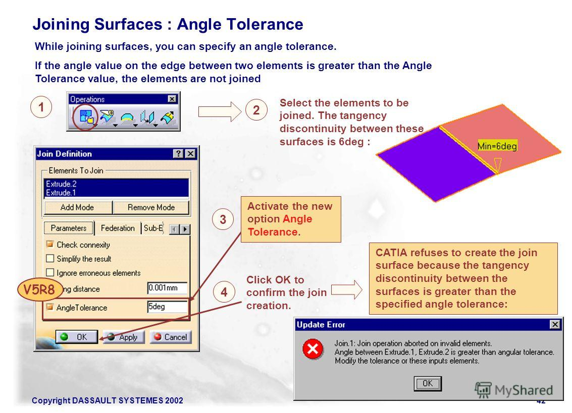 Copyright DASSAULT SYSTEMES 200242 Joining Surfaces : Angle Tolerance While joining surfaces, you can specify an angle tolerance. If the angle value on the edge between two elements is greater than the Angle Tolerance value, the elements are not join