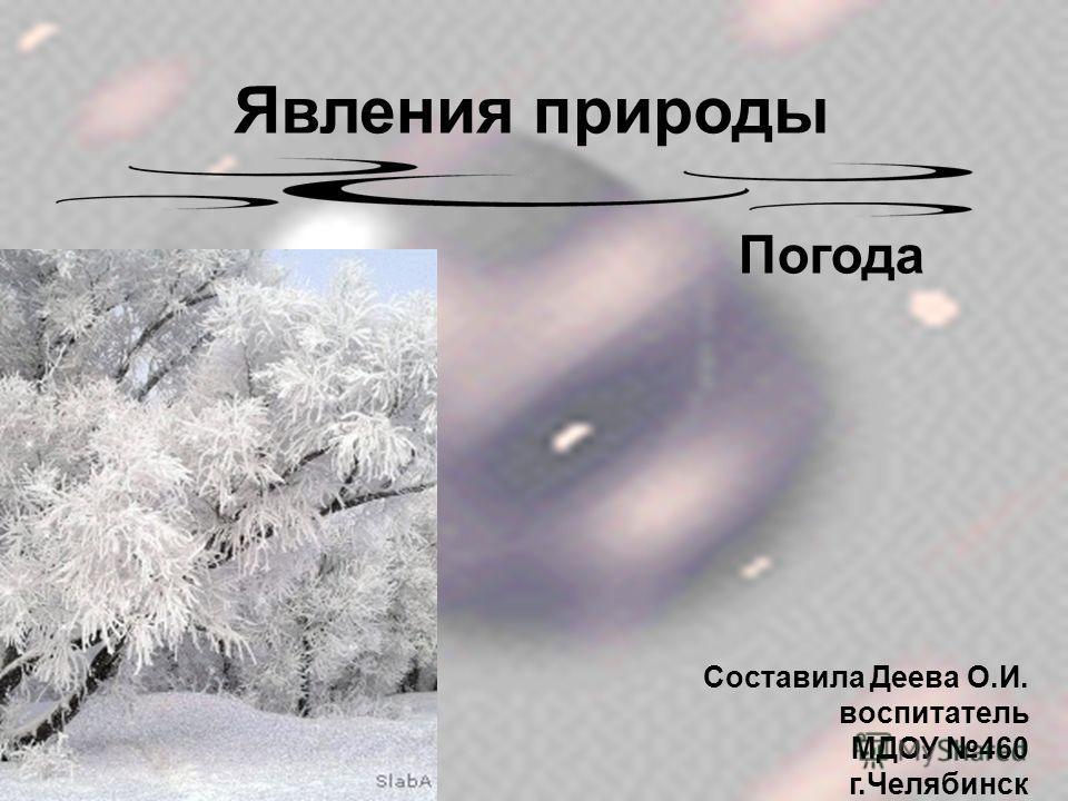 Явления природы Погода Составила Деева О.И. воспитатель МДОУ 460 г.Челябинск
