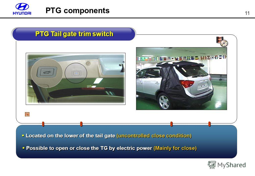 11 PTG Tail gate trim switch Located on the lower of the tail gate (uncontrolled close condition) Possible to open or close the TG by electric power (Mainly for close) PTG components
