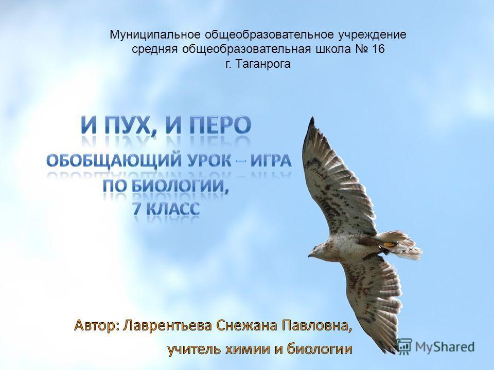 Муниципальное общеобразовательное учреждение средняя общеобразовательная школа 16 г. Таганрога