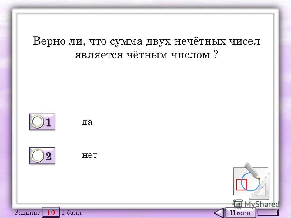 Итоги 10 Задание 1 балл 1111 1111 2222 2222 Верно ли, что сумма двух нечётных чисел является чётным числом ? да нет