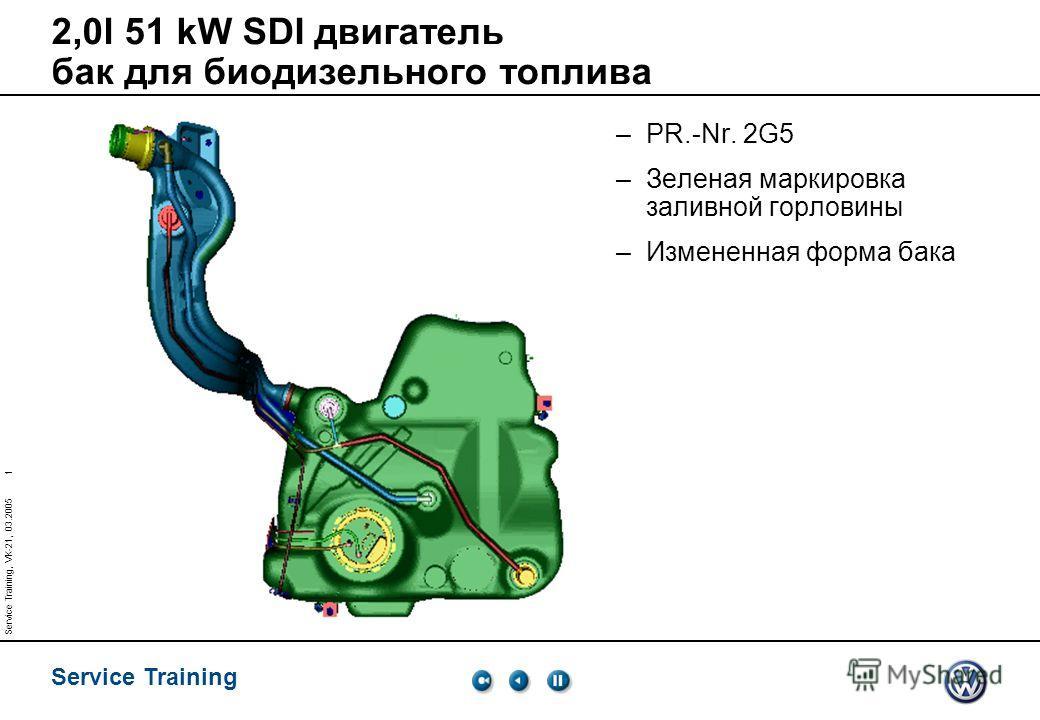 Service Training 1 Service Training, VK-21, 03.2005 2,0l 51 kW SDI двигатель бак для биодизельного топлива –PR.-Nr. 2G5 –Зеленая маркировка заливной горловины –Измененная форма бака