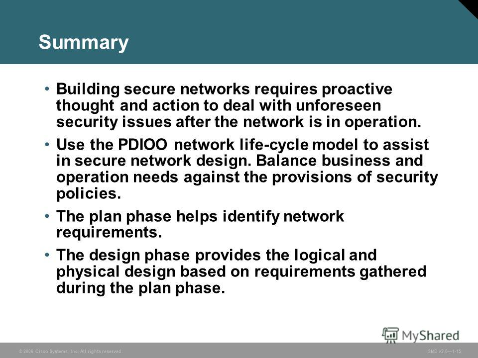 © 2006 Cisco Systems, Inc. All rights reserved. SND v2.01-15 Summary Building secure networks requires proactive thought and action to deal with unforeseen security issues after the network is in operation. Use the PDIOO network life-cycle model to a