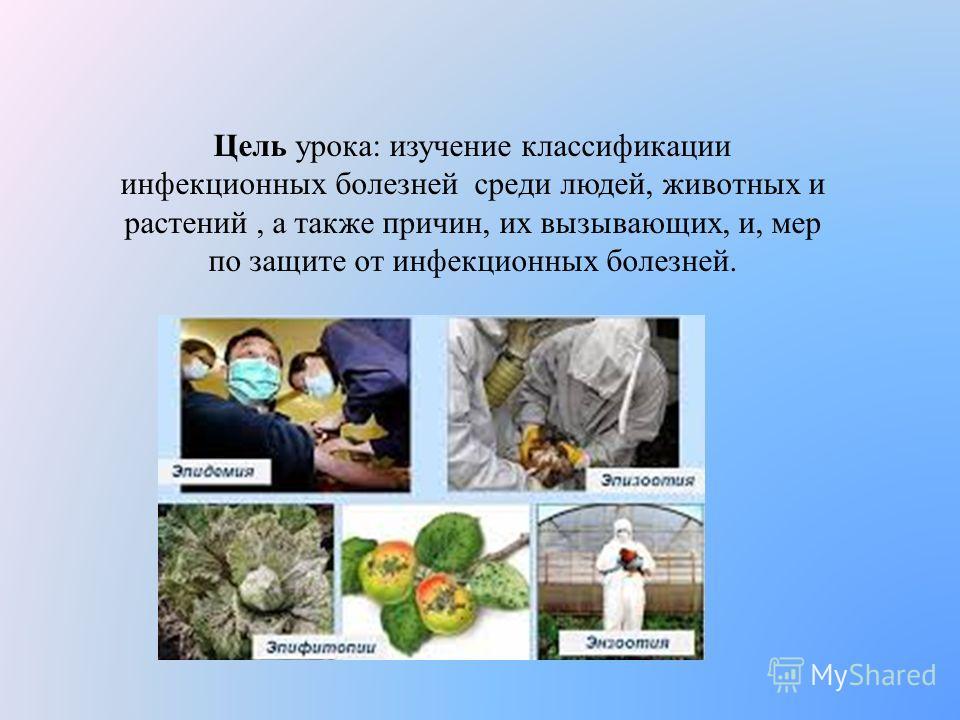 Цель урока: изучение классификации инфекционных болезней среди людей, животных и растений, а также причин, их вызывающих, и, мер по защите от инфекционных болезней.
