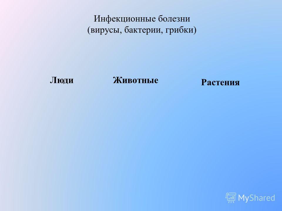 Инфекционные болезни (вирусы, бактерии, грибки) Люди Животные Растения