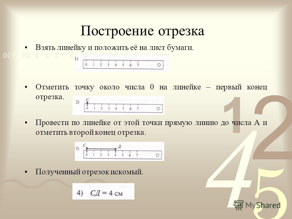 Построение отрезка Взять линейку и положить её на лист бумаги. Отметить точку около числа 0 на линейке – первый конец отрезка. Провести по линейке от этой точки прямую линию до числа А и отметить второй конец отрезка. Полученный отрезок искомый.