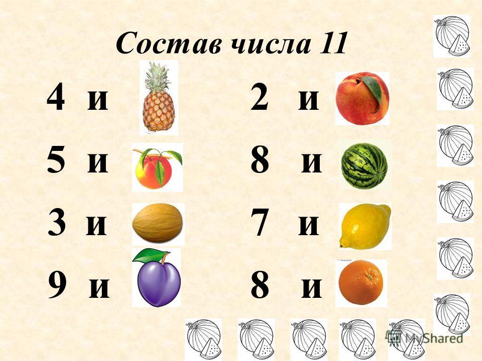 Состав числа 11 4 и 7 5 и 6 3 и 8 9 и 2 2 и 9 8 и 3 7 и 4 8 и 3