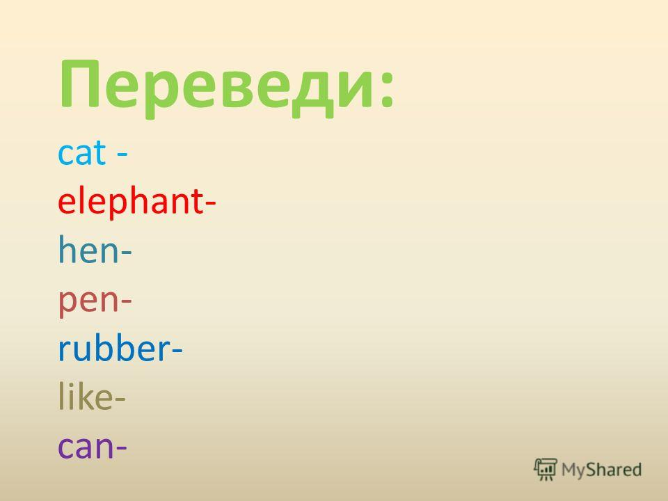 Переведи: cat - elephant- hen- pen- rubber- like- can-