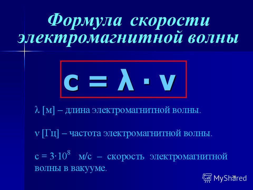 28 Формула скорости электромагнитной волныс = λ ν