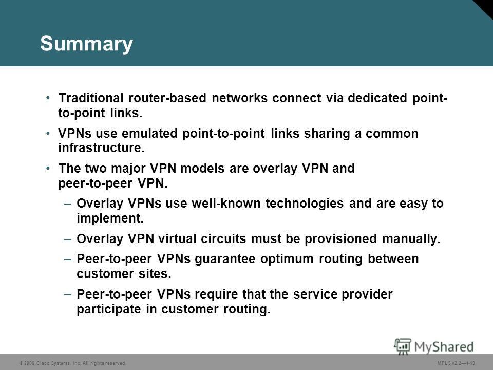 © 2006 Cisco Systems, Inc. All rights reserved. MPLS v2.24-19 Summary Traditional router-based networks connect via dedicated point- to-point links. VPNs use emulated point-to-point links sharing a common infrastructure. The two major VPN models are