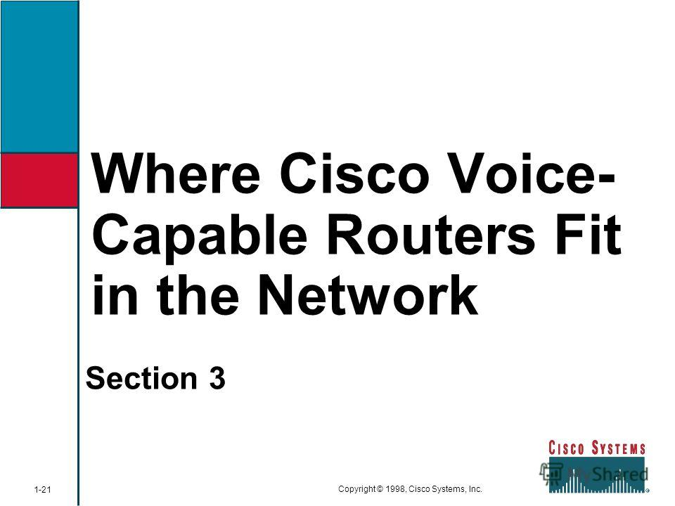 Where Cisco Voice- Capable Routers Fit in the Network Section 3 1-21 Copyright © 1998, Cisco Systems, Inc.