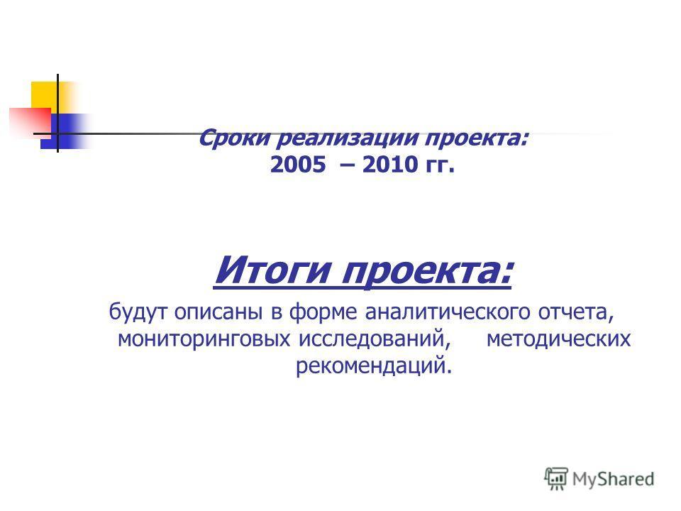 Сроки реализации проекта: 2005 – 2010 гг. Итоги проекта: будут описаны в форме аналитического отчета, мониторинговых исследований, методических рекомендаций.