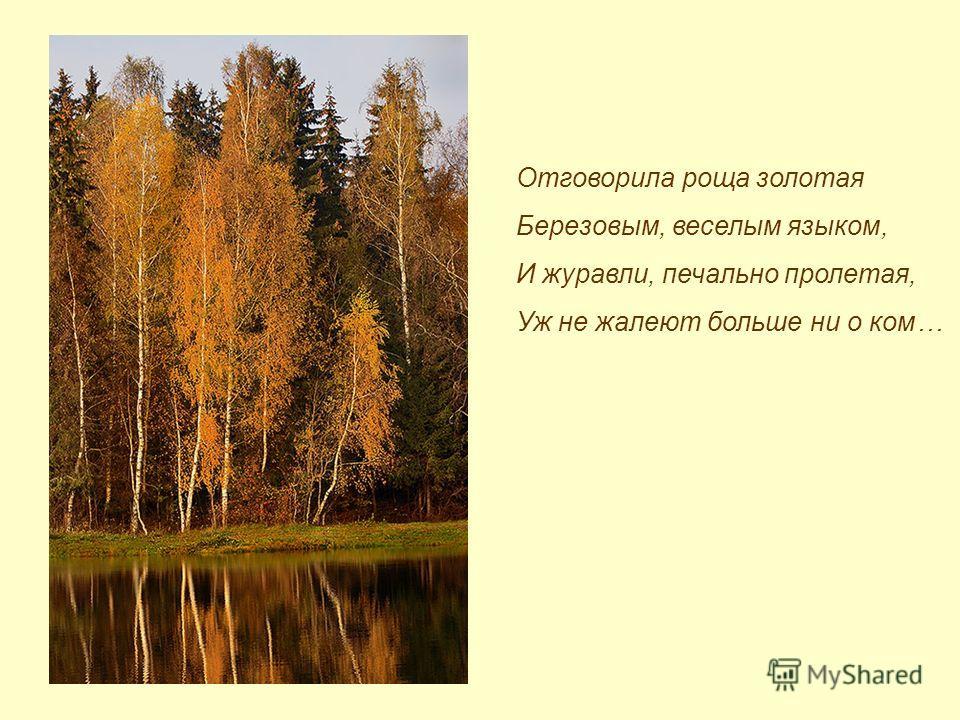 Отговорила роща золотая Березовым, веселым языком, И журавли, печально пролетая, Уж не жалеют больше ни о ком…