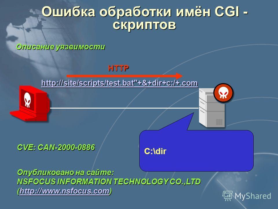 Ошибка обработки имён CGI - скриптов Получение контроля над объектом атаки Местонахождение атакующего В разных сегментах с объектом атаки Используемые уязвимости Цель Ошибка в реализации MS Internet Information Server Степень риска Запуск кода на объ