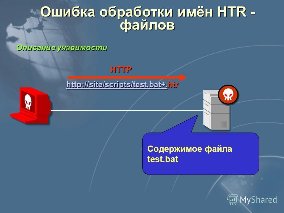 Ошибка обработки имён CGI - скриптов Описание уязвимости Опубликовано на сайте: NSFOCUS INFORMATION TECHNOLOGY CO.,LTD (http://www.nsfocus.com) http://www.nsfocus.com CVE: CAN-2000-0886 HTTP http://site/scripts/test.bat