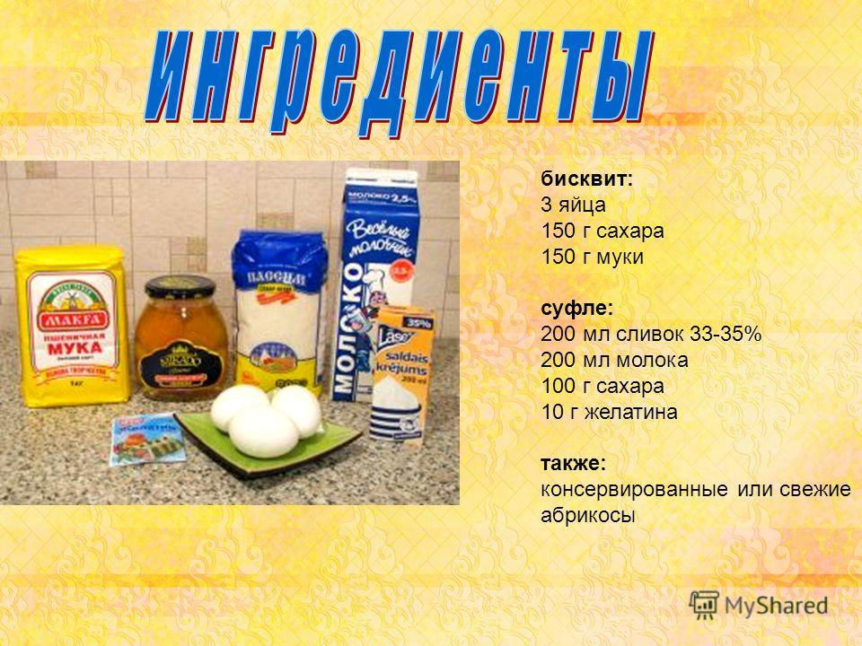 бисквит: 3 яйца 150 г сахара 150 г муки суфле: 200 мл сливок 33-35% 200 мл молока 100 г сахара 10 г желатина также: консервированные или свежие абрикосы