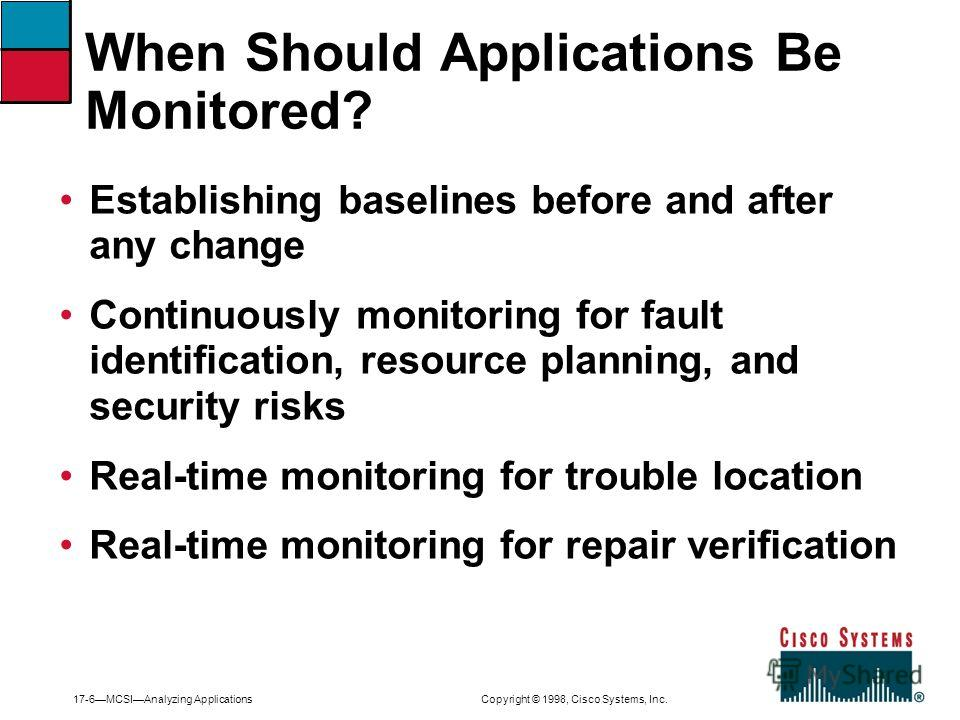 17-6MCSIAnalyzing Applications Copyright © 1998, Cisco Systems, Inc. Establishing baselines before and after any change Continuously monitoring for fault identification, resource planning, and security risks Real-time monitoring for trouble location