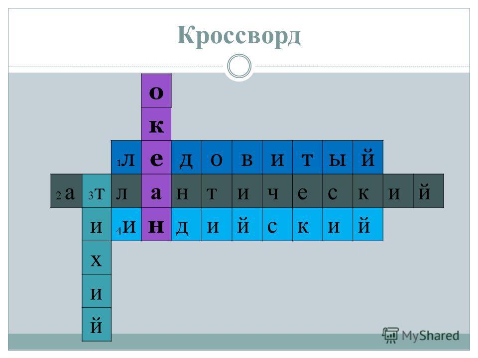 Кроссворд о к 1 л 1 ледовитый 2 а 2 а 3 т 3 тлантический и 4 и 4 ин дийский х и й