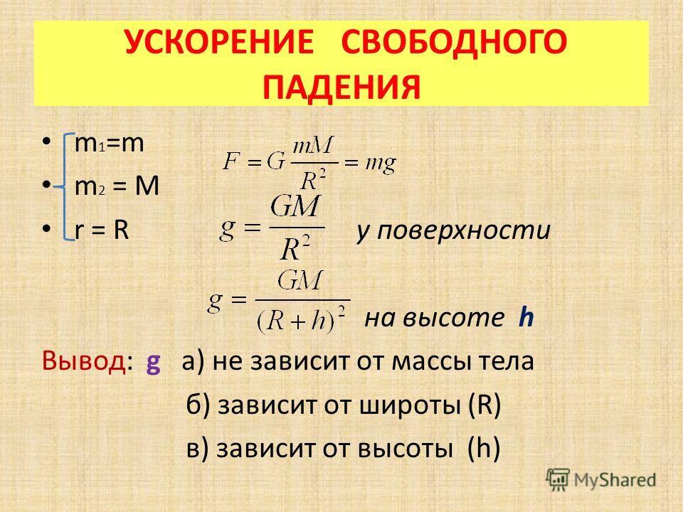 УСКОРЕНИЕ СВОБОДНОГО ПАДЕНИЯ m 1 =m m 2 = M r = R у поверхности на высоте h Вывод: g а) не зависит от массы тела б) зависит от широты (R) в) зависит от высоты (h)