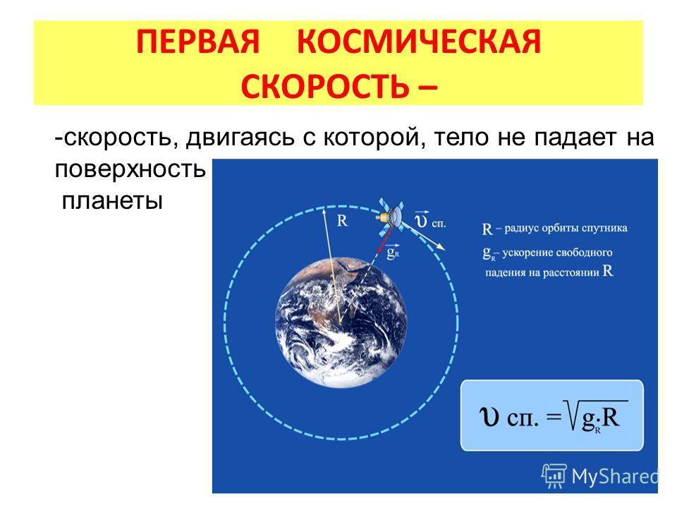 ПЕРВАЯ КОСМИЧЕСКАЯ СКОРОСТЬ – -скорость, двигаясь с которой, тело не падает на поверхность планеты