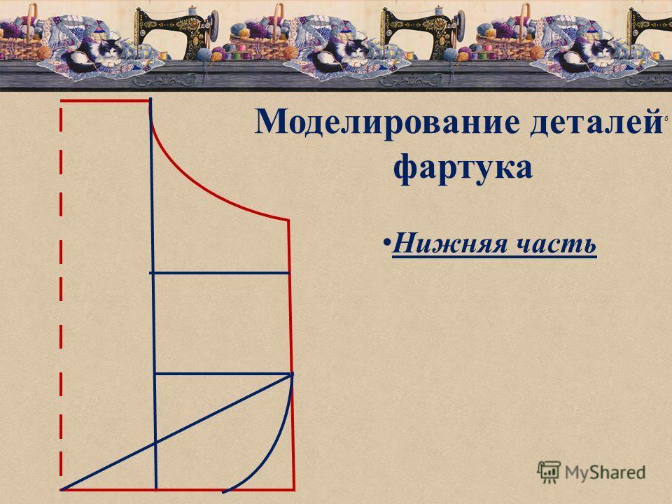 б Моделирование деталей фартука Нижняя часть