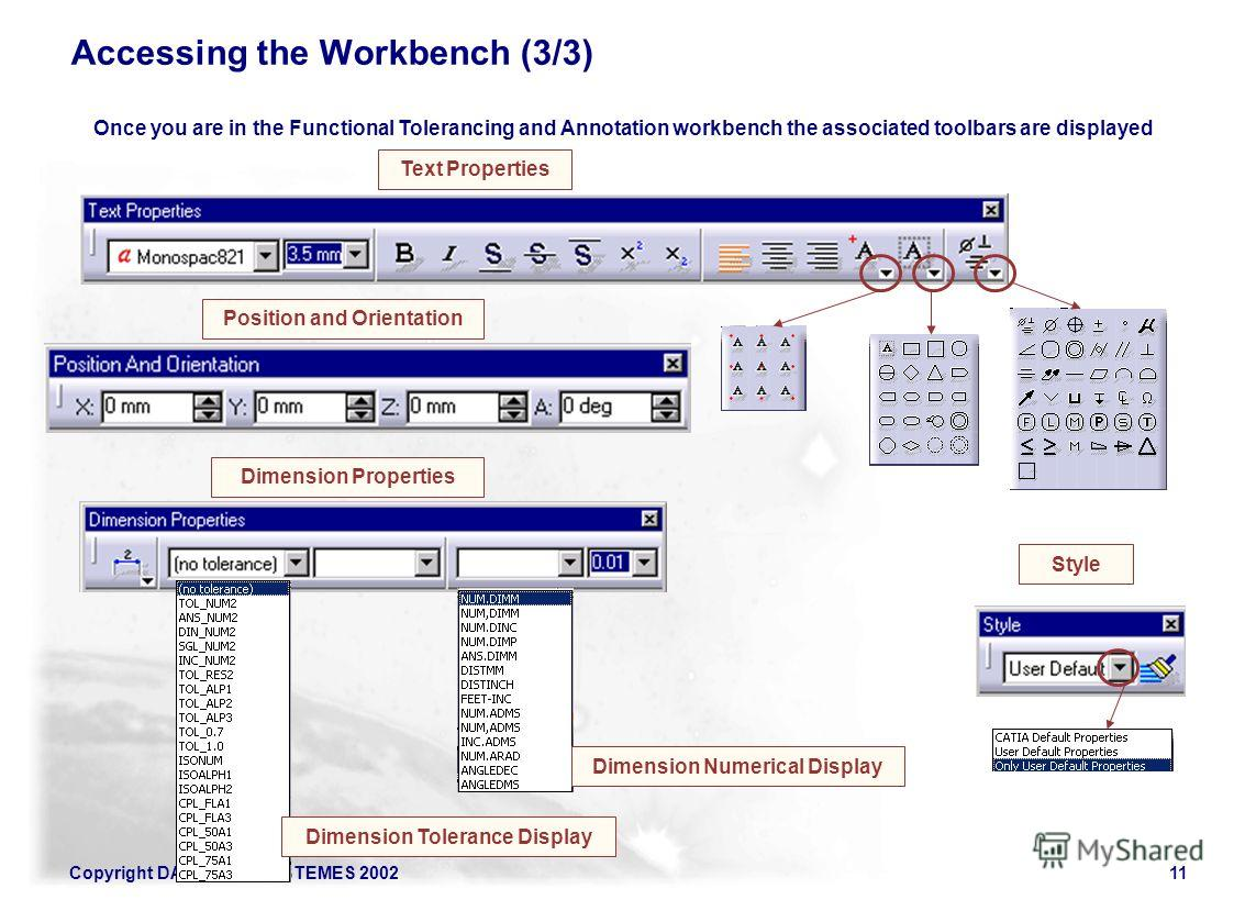 Copyright DASSAULT SYSTEMES 200211 Accessing the Workbench (3/3) Once you are in the Functional Tolerancing and Annotation workbench the associated toolbars are displayed Style Dimension Properties Text Properties Position and Orientation Dimension N