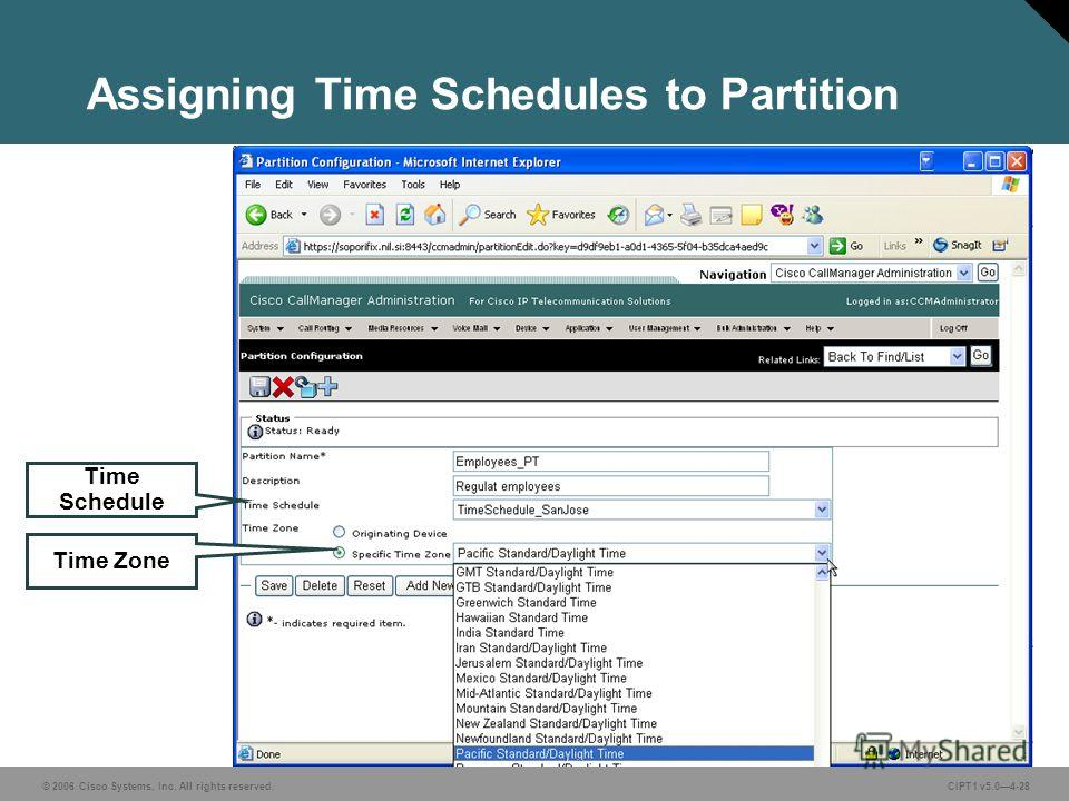© 2006 Cisco Systems, Inc. All rights reserved. CIPT1 v5.04-28 Assigning Time Schedules to Partition Time Schedule Time Zone