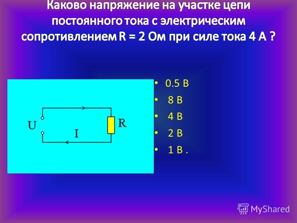 0.5 В 8 В 4 В 2 В 1 В.