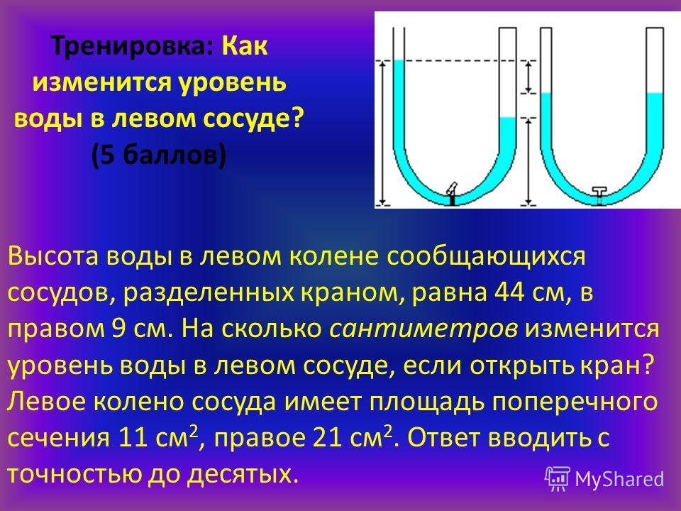 Задание 6 Тренировка: Как изменится уровень воды в левом сосуде? (5 баллов) Высота воды в левом колене сообщающихся сосудов, разделенных краном, равна 44 см, в правом 9 см. На сколько сантиметров изменится уровень воды в левом сосуде, если открыть кр