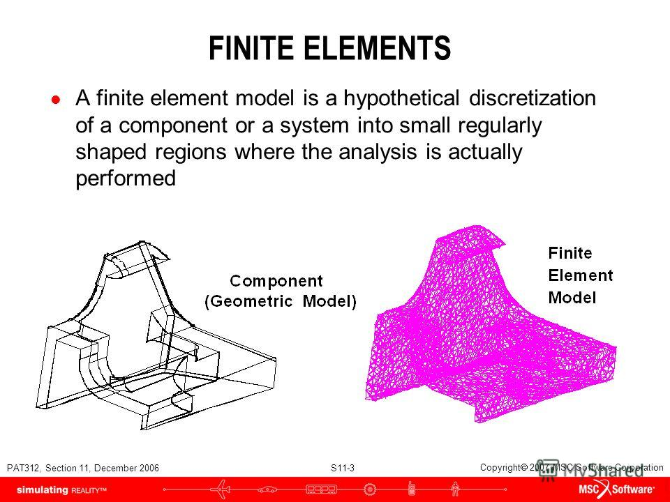PAT312, Section 11, December 2006 S11-3 Copyright 2007 MSC.Software Corporation FINITE ELEMENTS l A finite element model is a hypothetical discretization of a component or a system into small regularly shaped regions where the analysis is actually pe