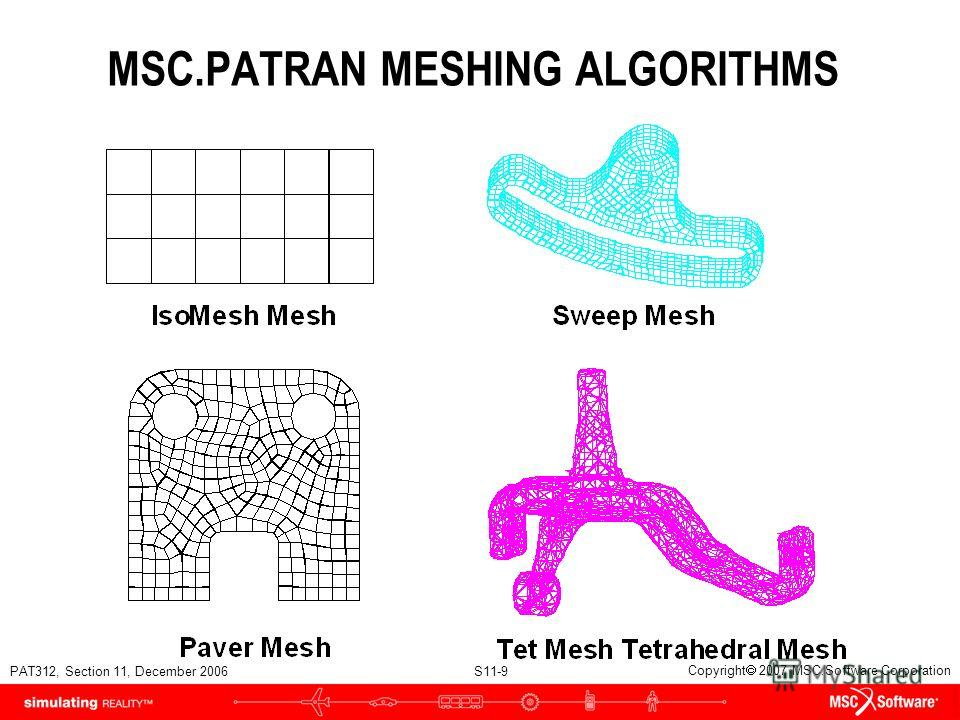 PAT312, Section 11, December 2006 S11-9 Copyright 2007 MSC.Software Corporation MSC.PATRAN MESHING ALGORITHMS