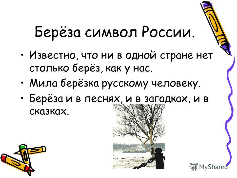 Берёза символ России. Известно, что ни в одной стране нет столько берёз, как у нас. Мила берёзка русскому человеку. Берёза и в песнях, и в загадках, и в сказках.