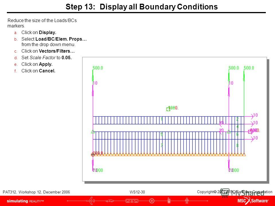 WS12-30 PAT312, Workshop 12, December 2006 Copyright 2007 MSC.Software Corporation Step 13: Display all Boundary Conditions Reduce the size of the Loads/BCs markers. a. Click on Display. b. Select Load/BC/Elem. Props… from the drop down menu. c. Clic