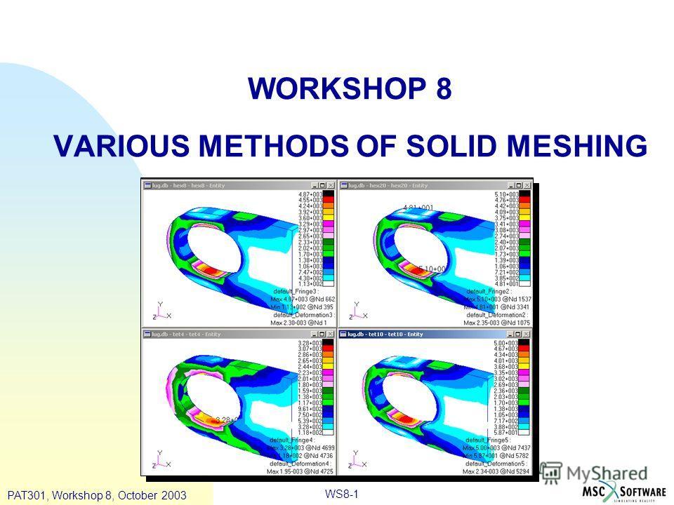 PAT301, Workshop 8, October 2003 WS8-1 WORKSHOP 8 VARIOUS METHODS OF SOLID MESHING