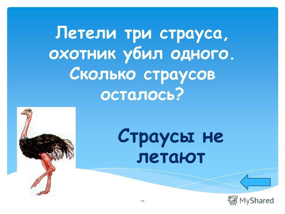 Летели три страуса, охотник убил одного. Сколько страусов осталось? Страусы не летают 10
