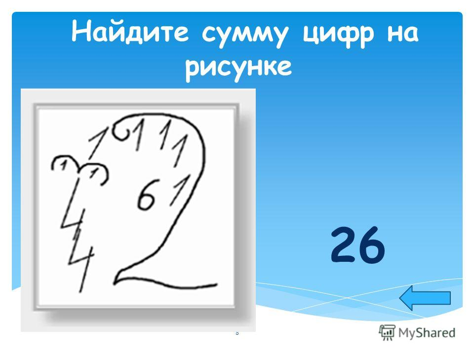 Найдите сумму цифр на рисунке 26 8