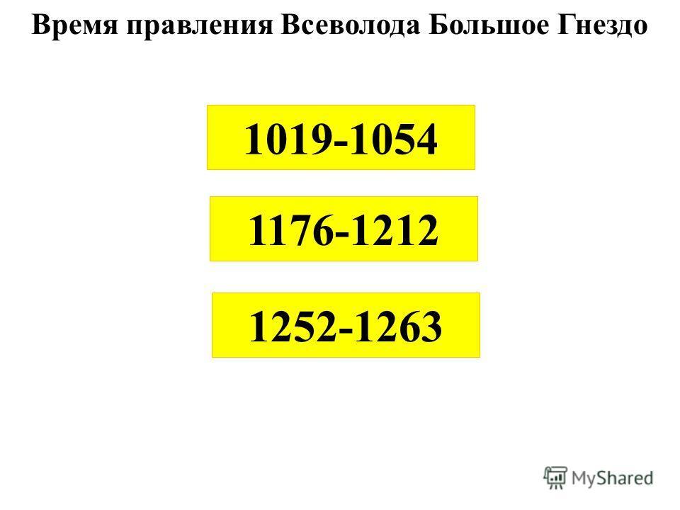 Время правления Всеволода Большое Гнездо 1176-1212 1252-1263 1019-1054