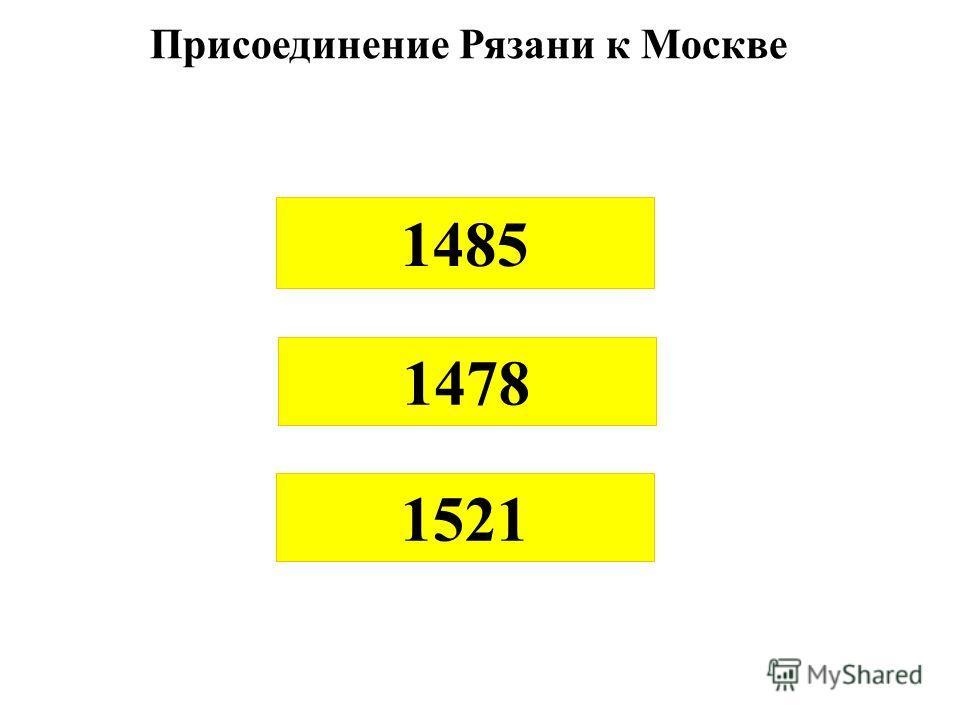 Присоединение Рязани к Москве 1485 1478 1521