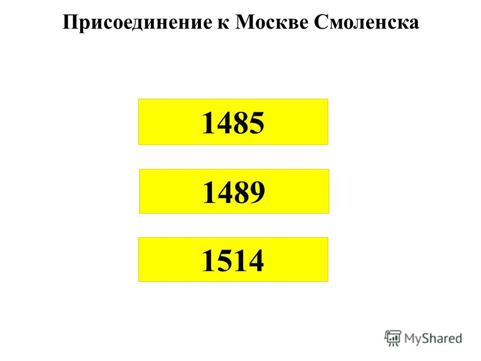 1485 1489 1514 Присоединение к Москве Смоленска