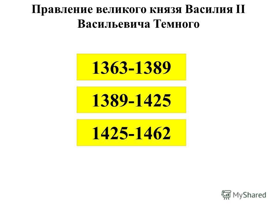 Правление великого князя Василия II Васильевича Темного 1425-1462 1389-1425 1363-1389