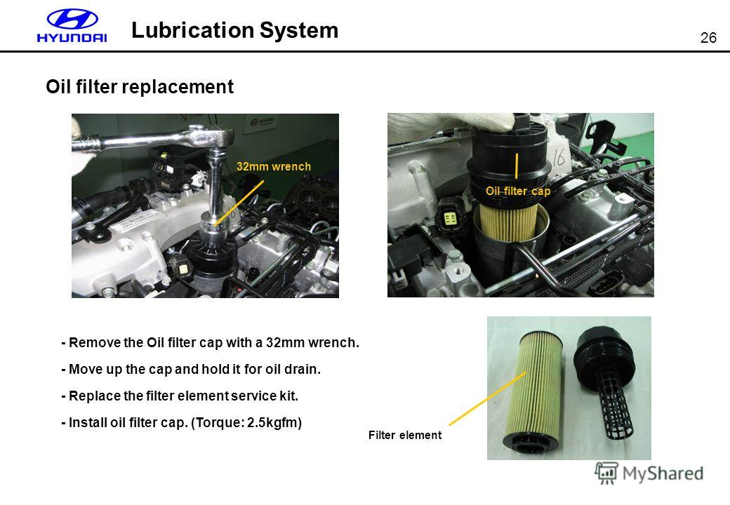 26 Lubrication System Oil filter replacement - Remove the Oil filter cap with a 32mm wrench. - Move up the cap and hold it for oil drain. - Replace the filter element service kit. - Install oil filter cap. (Torque: 2.5kgfm) 32mm wrench Oil filter cap