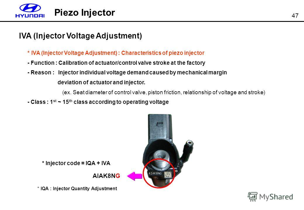 47 Piezo Injector IVA (Injector Voltage Adjustment) * IVA (Injector Voltage Adjustment) : Characteristics of piezo injector - Function : Calibration of actuator/control valve stroke at the factory - Reason : Injector individual voltage demand caused