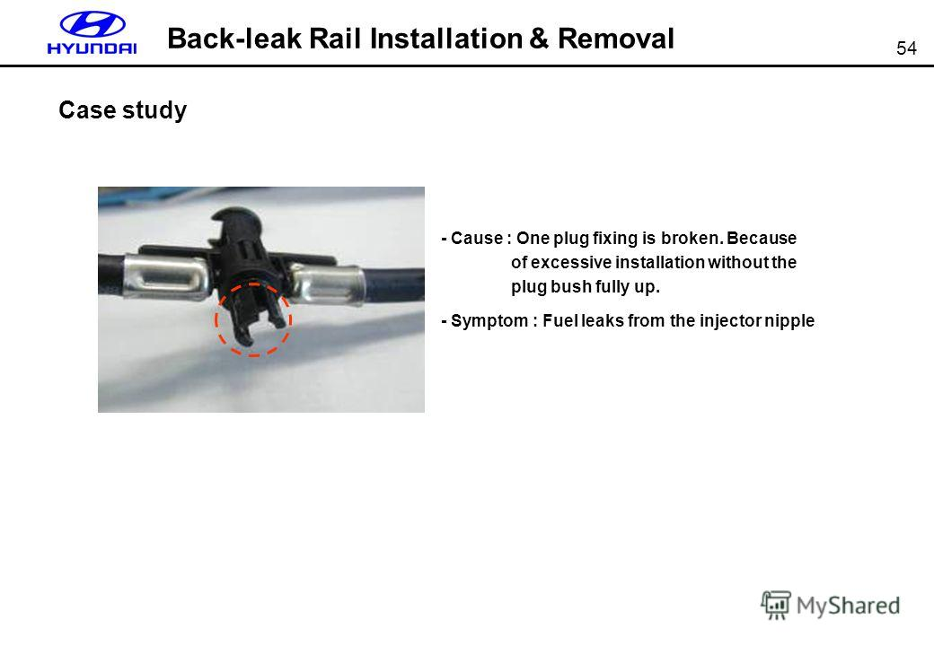 54 Back-leak Rail Installation & Removal Case study - Cause : One plug fixing is broken. Because of excessive installation without the plug bush fully up. - Symptom : Fuel leaks from the injector nipple