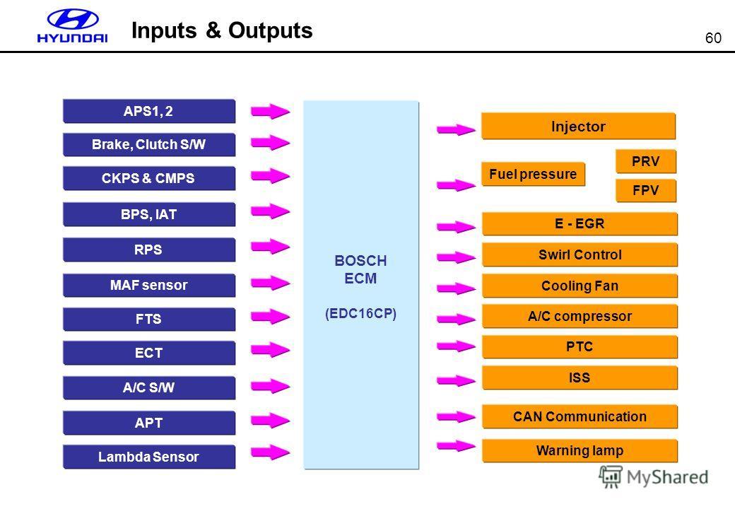 60 Inputs & Outputs APS1, 2 Brake, Clutch S/W CKPS & CMPS BPS, IAT RPS MAF sensor ECT A/C S/W Injector Fuel pressure E - EGR Cooling Fan PTC ISS BOSCH ECM (EDC16CP) Swirl Control CAN Communication A/C compressor Warning lamp APT Lambda Sensor PRV FTS