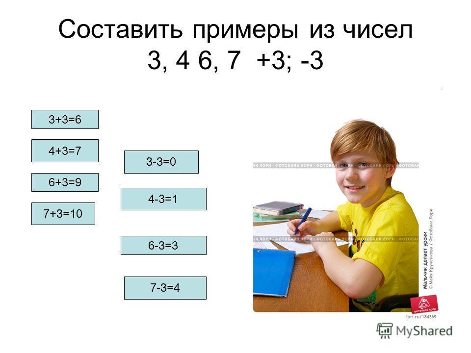 Составить примеры из чисел 3, 4 6, 7 +3; -3 3+3=6 4+3=7 6+3=9 4-3=1 6-3=3 7-3=4 7+3=10 3-3=0