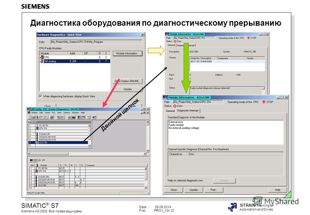 Date: 29.09.2014 File:PRO1_13r.12 SIMATIC ® S7 Siemens AG 2002. Все права защищены. SITRAIN Training for Automation and Drives Диагностика оборудования по диагностическому прерыванию Двойной щелчок